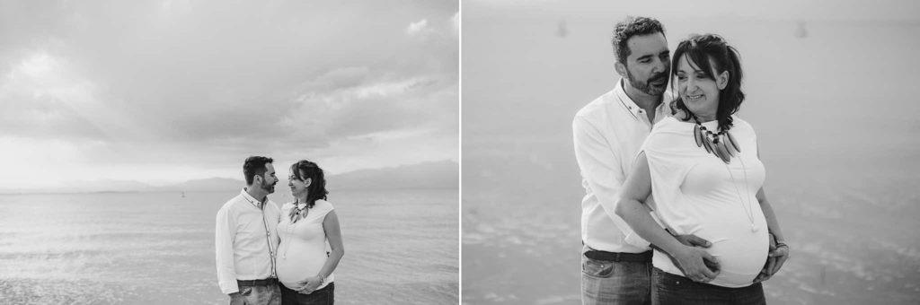 ritratto di coppia premaman lago